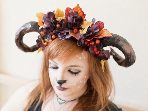 DIY-Anleitung: Hörner für Waldfee-Kostüm selber machen / costume idea for halloween: craft horns for a forest fairy costume via DaWanda.com