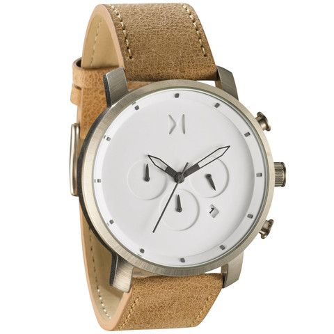 MOVEMENT Miyota Japanese quartz. DIAL The dial features a three hand movement with a 24-hour time hand and a stopwatch. CASE 45 mm, brushed stainless steel case