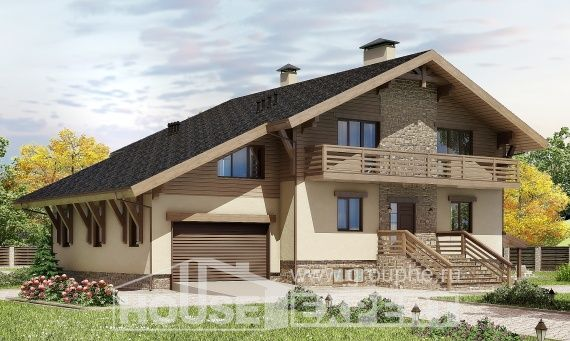 420-001-L Three Story House Plans and mansard with garage in front, a huge Design House