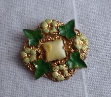 винтажный 1920-х годов стиль арт деко чешский зеленый лист плюща + кремовая эмаль цветок брошь ШВАБРА