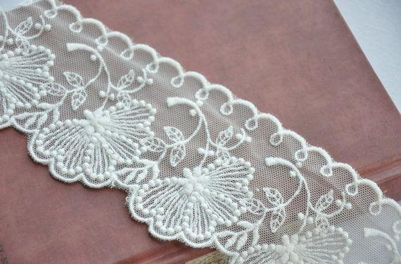 Crema blanco tul encaje recortar algodón bordado por Lacebeauty