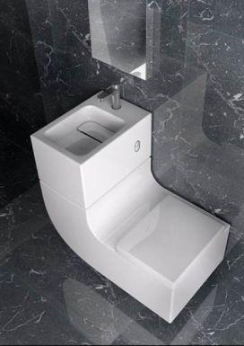Cuando tenemos muy muy poco espacio para el baño, vienen bien ideas como ésta... Y encima ahorramos agua!!