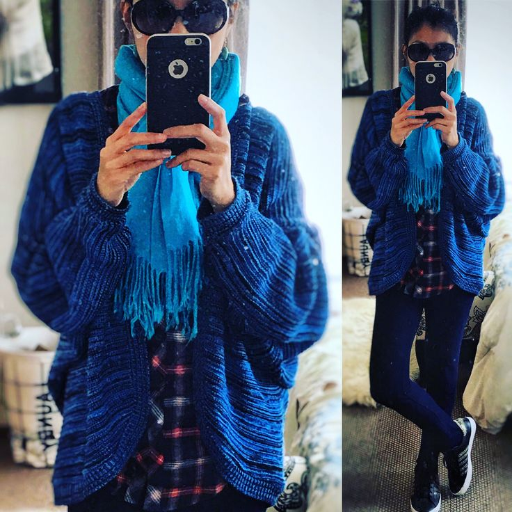 Winter blues - keeping warm for winter in a blue oversized batwing cardigan