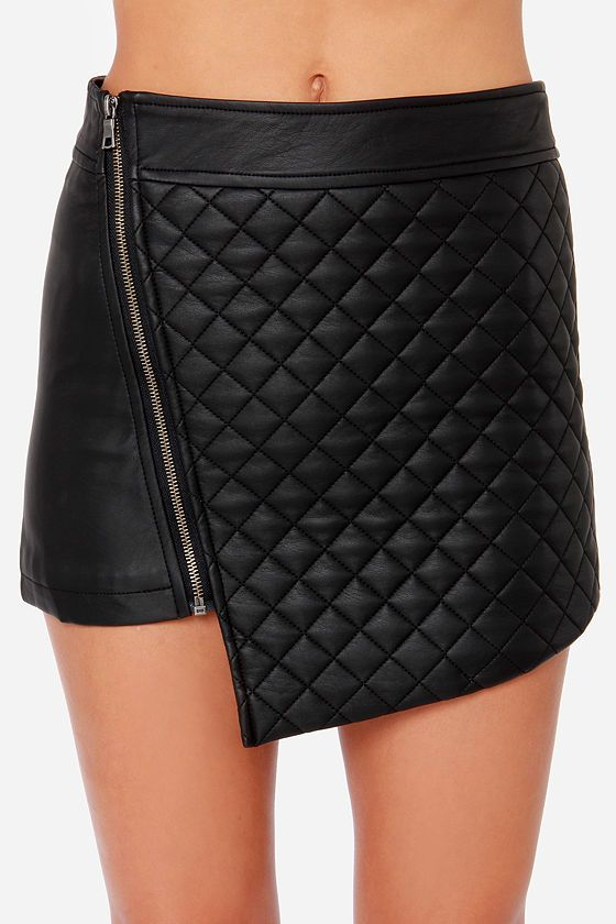Quilted Black Mini Skirt