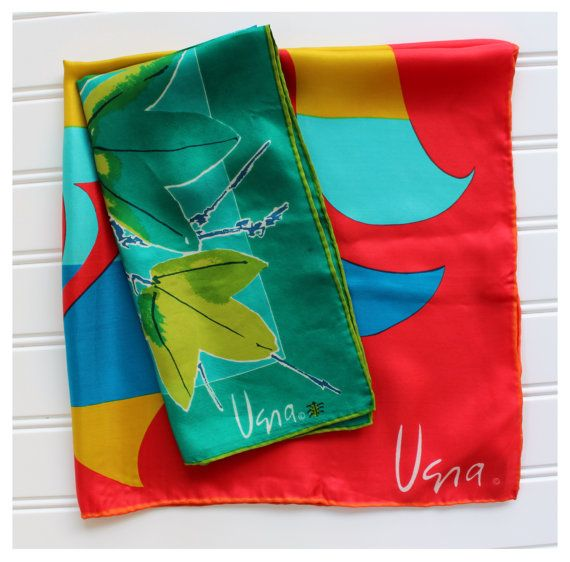 Colorful Vera Scarves  Silk Pair  Sun Scarf  Leaf by catnapcottage