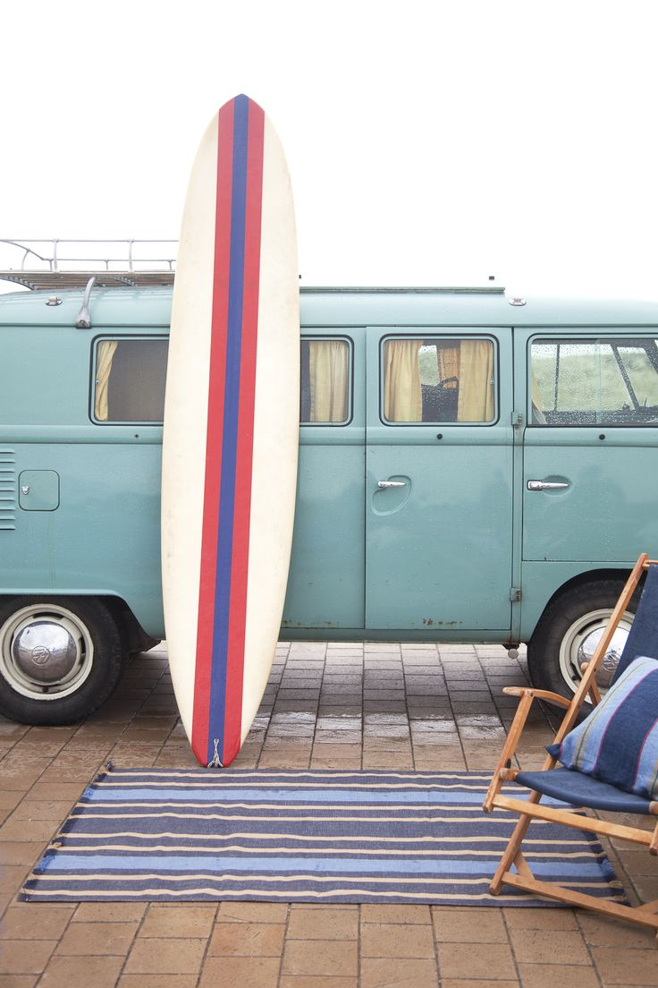 old westfalia, surf board..