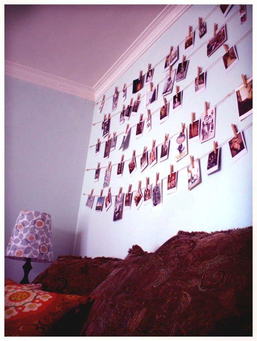Ein Foto und die Wäscheklammer. Schöne Idee für hunderte Fotos aufhängen ...