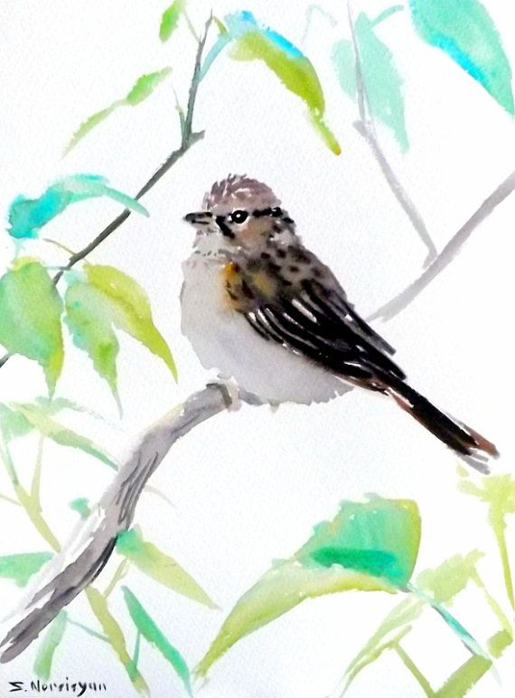 """ORIGINALONLY"" Sparrow, original watercolor painting 9 X 12 in, female sparrow, bird lover art, yard birds"