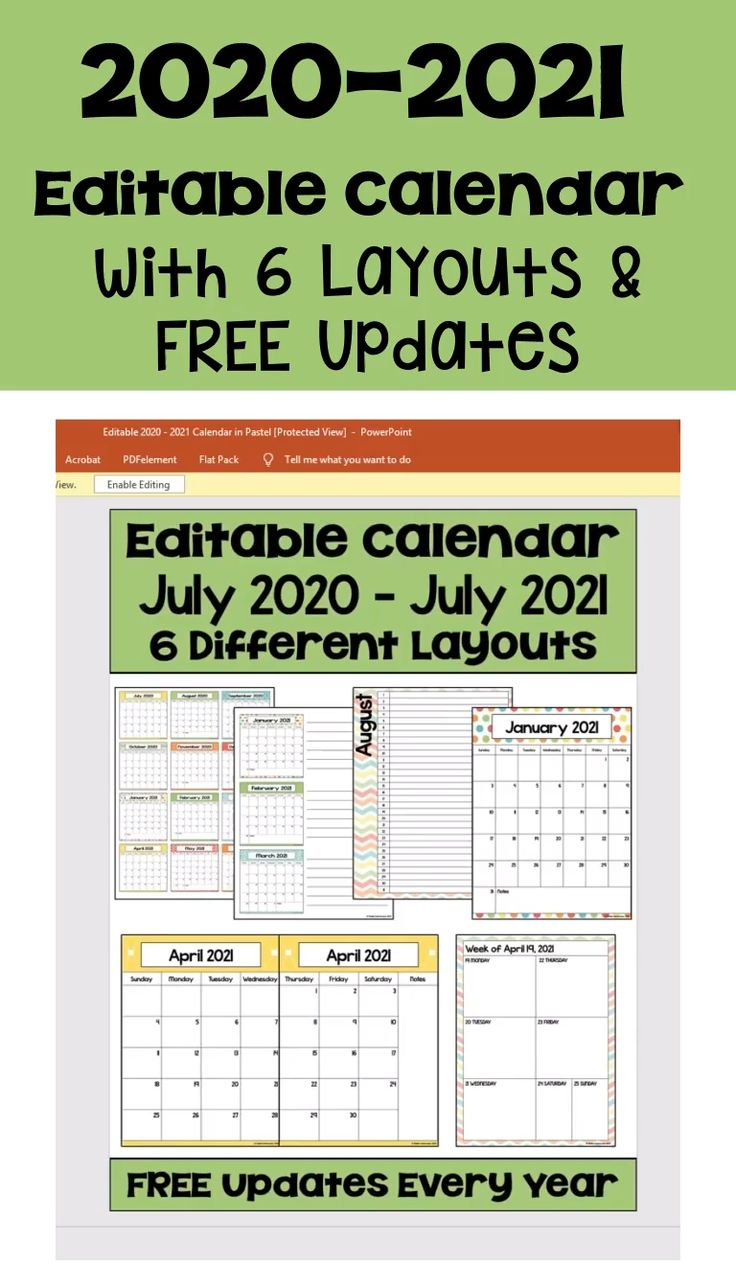 2020-2021 Editable Calendar with 6 Layouts & FREE Updates ...