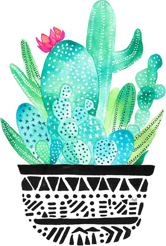 Pot me a cacti by amayabrydon sticker redbubble watercolor cacti print watercolor