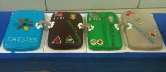 Girl Scout Bridging Ceremony- The cakes represented each level with the bridges connecting each cake.