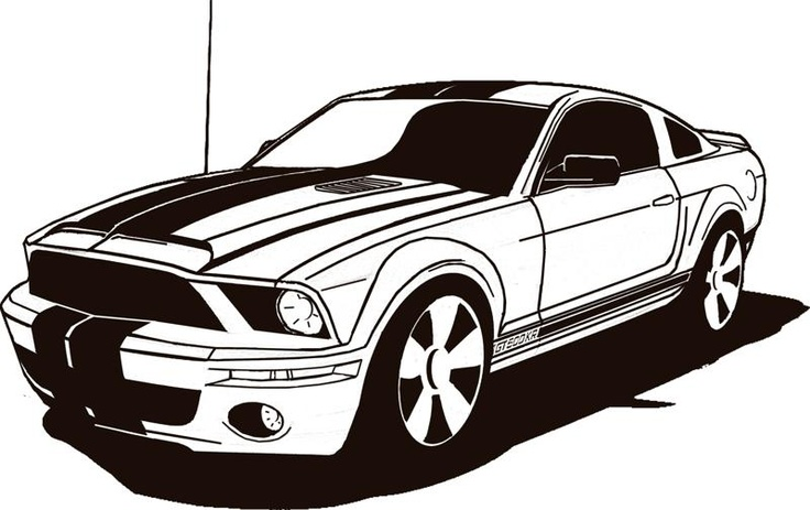 Mustang Stencil Car Drawings Art Cars Race Car Coloring Pages