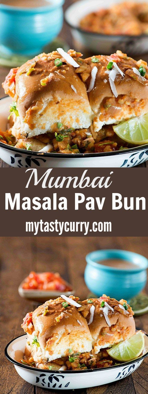 Mumbai Masala Pav is spicy and very filling street side food from Mumbai. Soft buttery pav bun is stuffed with spicy masala gravy slathered in a spicy masala and is served with a generous sprinkle of coriander leaves and fresh coconut. Extra toppings of cheese make it even more special. There are many versions of masala Pav, in some version a masala of onion, tomatoes, and capsicum is made for the stuffing of masala pav and in some versions, boiled potato is added to the masala it.