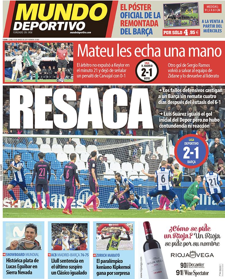 Portada Mundo Deportivo, lunes 13 de marzo de 2017