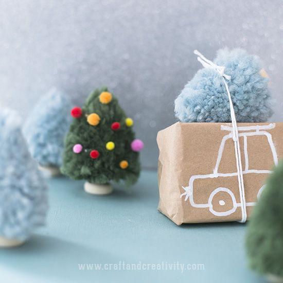 Pom pom Christmas trees - by Craft & Creativity