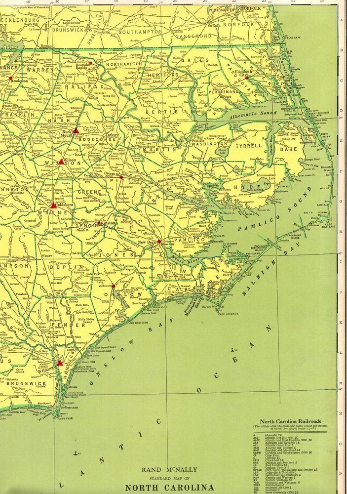United States Map North Carolina.1963 Vintage North Carolina Map With Railroads Poster Print Rare