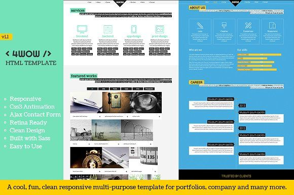4wow Clean And Fun Responsive Html Cleaning Sticky Navigation Web Development Design