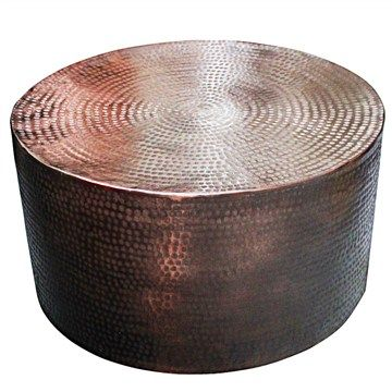 Shani Hammered Aluminium 80cm Round Coffee Table - Copper