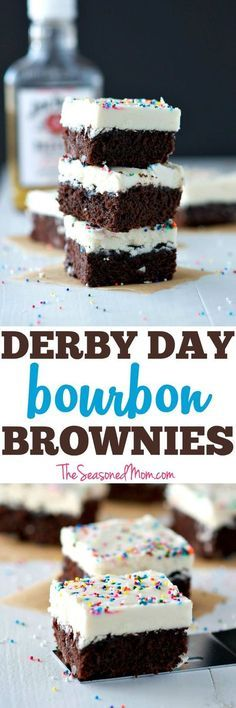 A few simple additions to a boxed brownie mix create the most decadent, festive, and EASY Derby Day Bourbon Brownies! The moist, rich brownies are spiked with Kentucky bourbon whiskey and then topped with a creamy layer of bourbon frosting for a perfectly boozy party dessert!