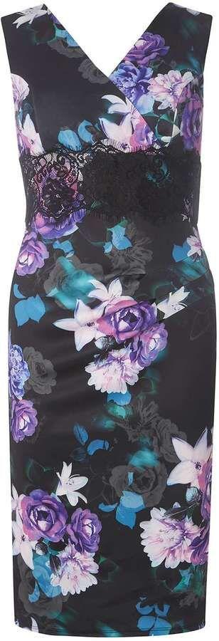**Scarlett B Multi Coloured Floral Bodycon Dress