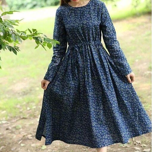 Мори девушка о-образным вырезом с длинным рукавом цветы печати Шнурок литературный свежие Платье