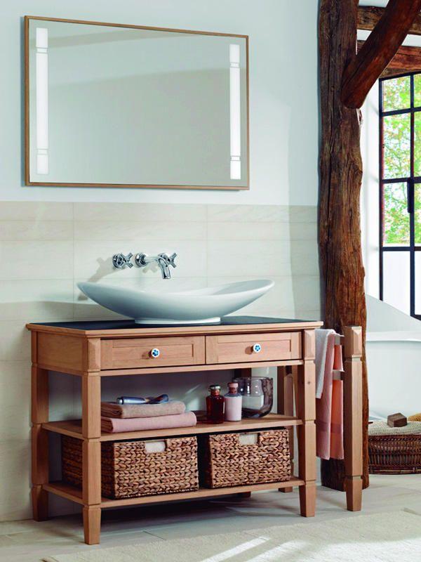 Baño rustico #madera #cesto #fibra