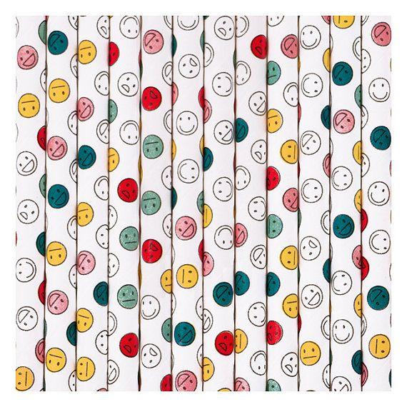 Happy Birthday Emoji Straw