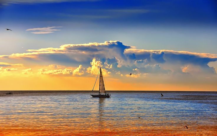 Image detail for -Download Sailboat in the sea at sunset wallpaper   Wallpaper-million ...
