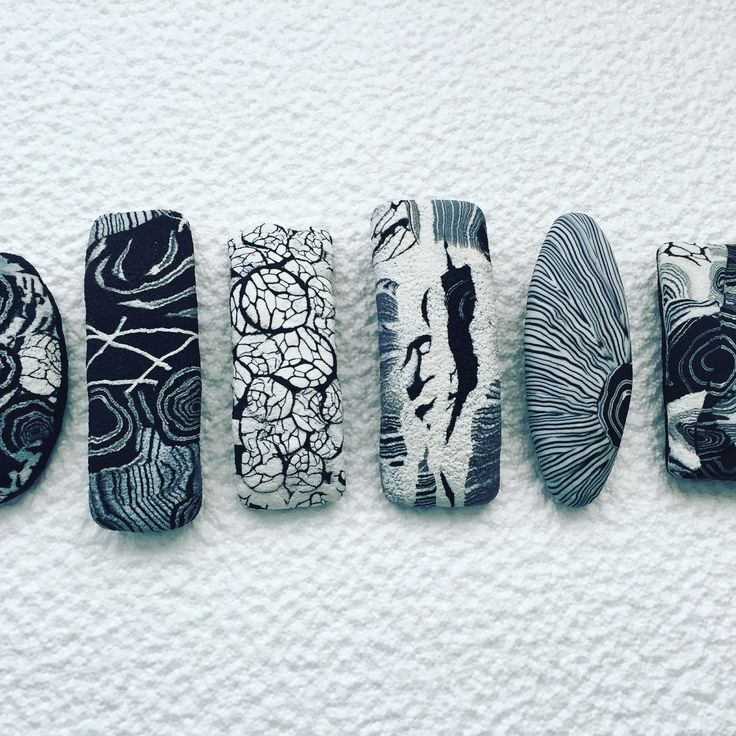Polymer clay barrettes by alabala bijoux. Bordeaux. Eurosynergy 2016. Black and white challenge