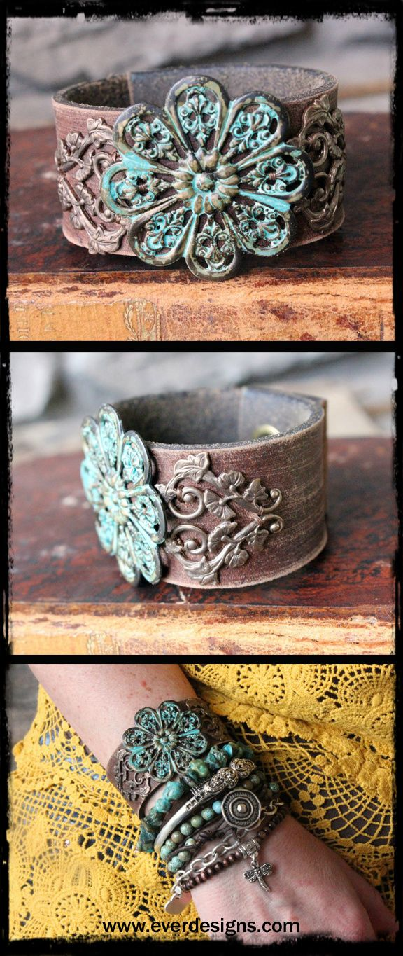 Upcycled bohemian leather cuff. Very boho chic and perfect for the free-spirit girl who likes her accessories understated yet unique and different. One of a kind. #bohemian #jewelry