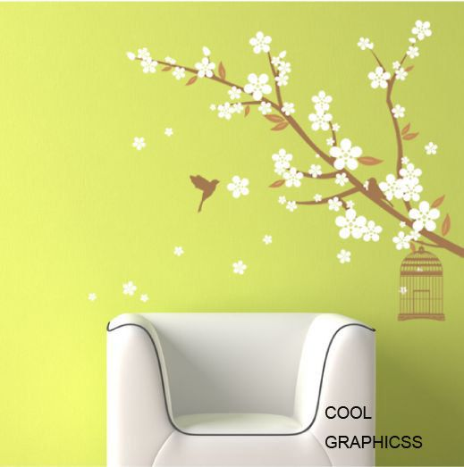 blossom Branch with decorative bird cage  Vinyl by coolgraphicss, $39.00: Birds Wall, Ideas, Craft, Blossom Trees, Bird Wall Decals, Blossom Wall, Flower, Cherry Blossoms