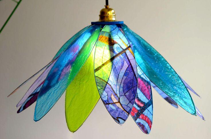 lampadario fiore caleidoscopio blu di fiorediluce su Etsy