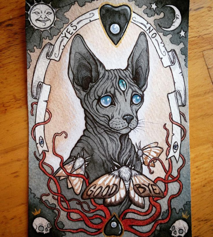 """I finished my spirit board inspired Sphinx cat piece this 4"""" by 6"""" painting is in my shop now at http://ift.tt/HpSdWE by caitlin_hackett"""