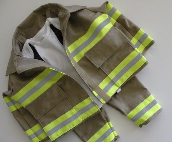 Firefighter Baby Boy  Outfit with Jacket, baby shower gift, New baby Gift, Halloween costume on Etsy, $80.00