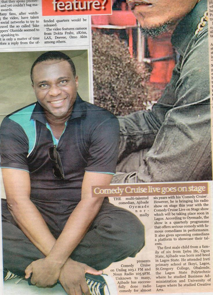 Ajibade Oyemade featured in the Nigerian Tribune Newspaper. Friday, July 11, 2014 PAGE 39 #ComedyCruiseShow #MainlandInvasion