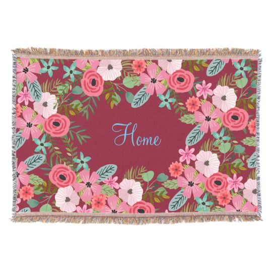 Personalized throw blanket burgundy floral name