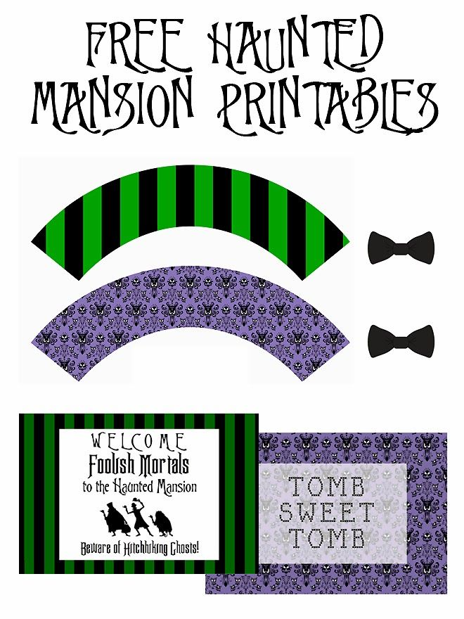 Haunted Mansion Inspired - Free Halloween Printables: Cupcake Wraps, Cupcake Toppers and Invitations.  All courtesy of Ashley at SUGAR AND SOIRÉES.  Follow the link and the link to the printables is at the bottom of the page.