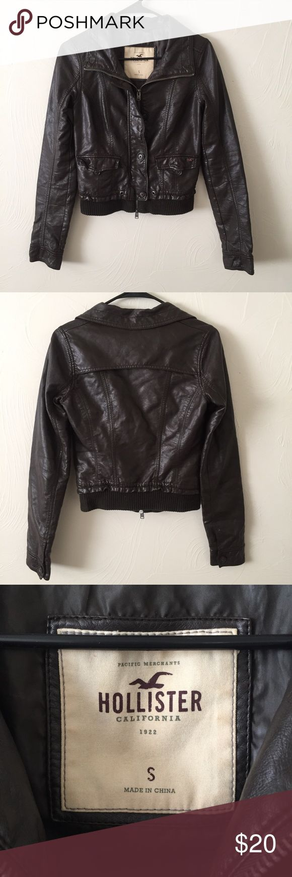 Brown Hollister Bomber Jacket, size small This jacket fits like a glove! Brown with a few blemishes but still in great condition. Faux leather. Snug fit. Hollister Jackets & Coats Utility Jackets