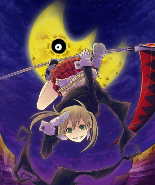 Soul Eater-- Maka, hanging off of Soul Eater Evans in his weapon form Look at the moon behind her creepy... whenever i watched an episode i'd always get creeped out by the bloody moon and the weird sun...