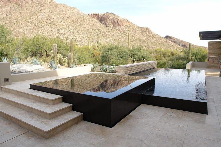 Infinity edge pool contemporary with vanishing edge infinity edge hot tub