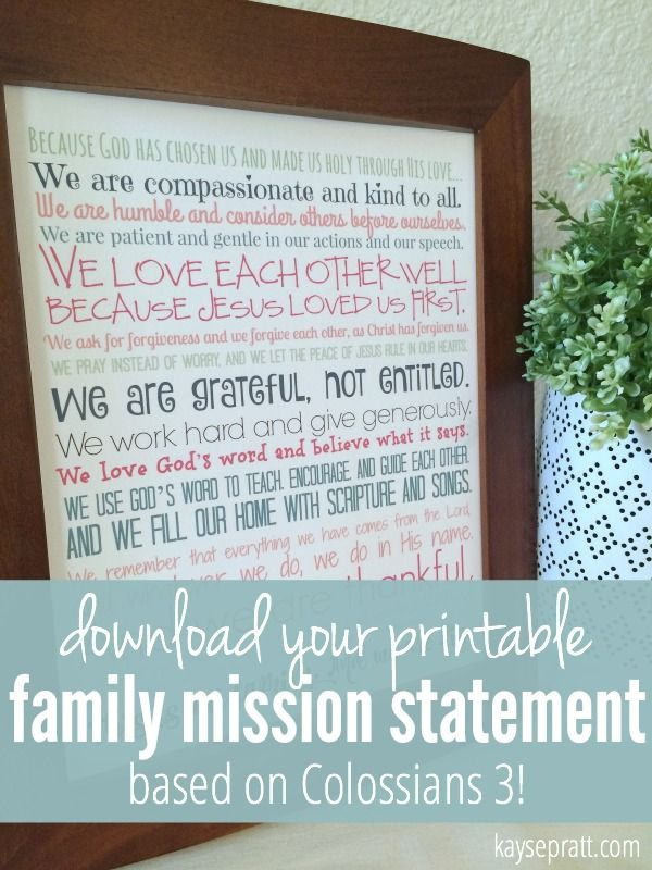A Biblical Family Mission Statement Based on Colossians 3 - available in 3 colors as a free printable download!
