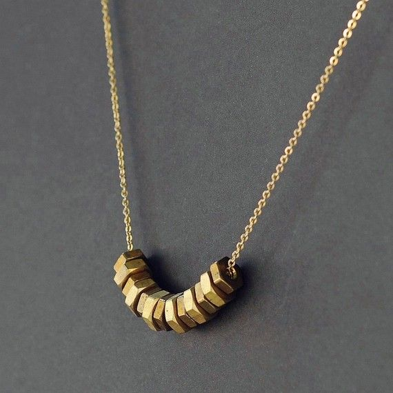 Found Object Jewelry Upcycled Modern Brass Hardware by Tanith, $28.00