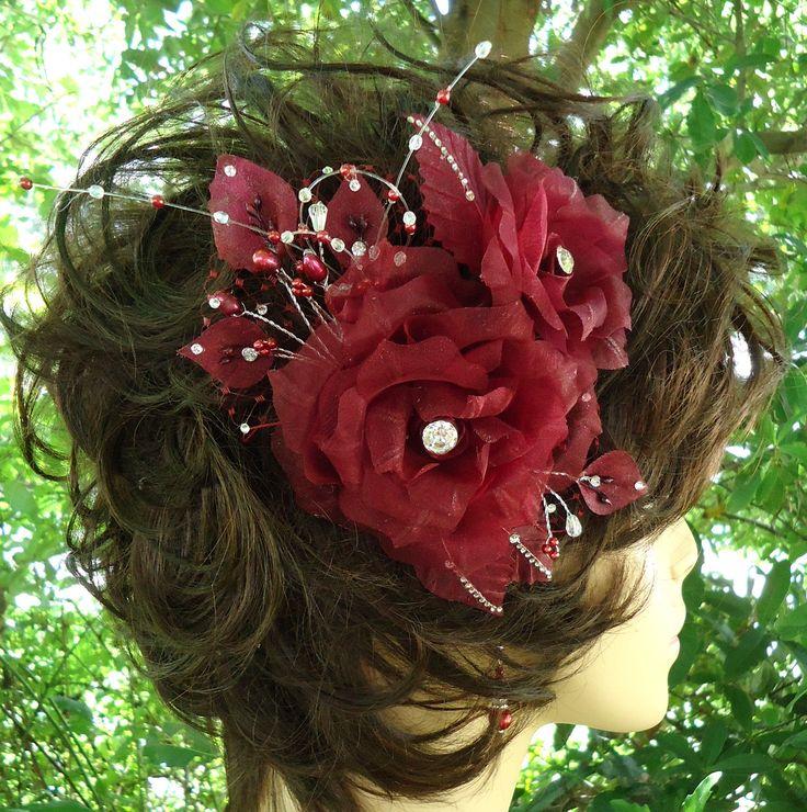 Wedding Hair Rose, Rose Fascinator, Burgundy Rose, Wedding Accessory, REX16-403 by RoyalEXander on Etsy