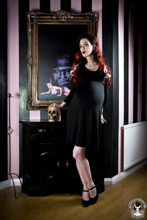 V neck Fitted  Black Maternity dress from by MamaSanMaternity, $40.00