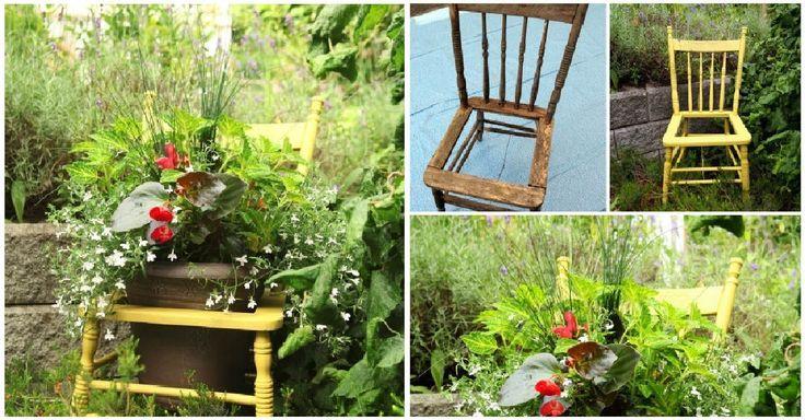 Návod jak proměnit starou židli na okrasný květináč