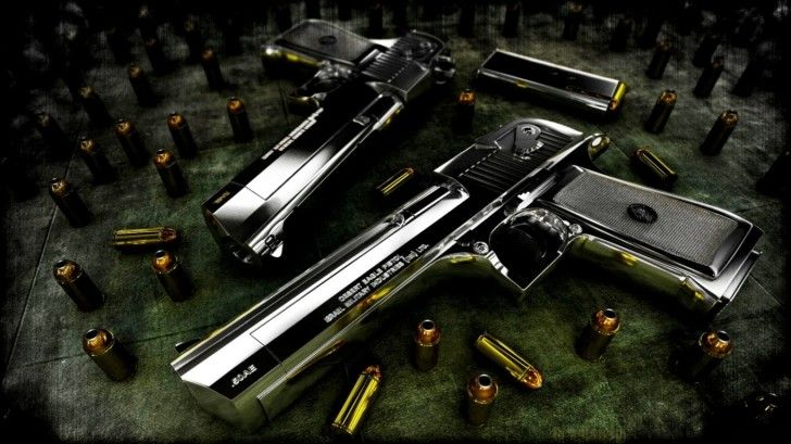 Gun Wallpapers Silver With Gold Bullet
