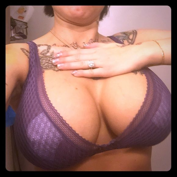 Victoria's Secret 32dd bra with xs cheekini panty The color is more like 2nd pic. It kills me to sell this. I bought before my new bigger implants I wore once for a photo shoot. Too small now.I did cover my areoles in pic cuz it's see through ish. This is and unlined Demi. No underwire!It is the most comfortable bra ever to me. The straps are gorgeous too and it makes the girls look great it pushes them together and up...adjustable straps. Panties wore 1 time with liner. Washed in color safe…