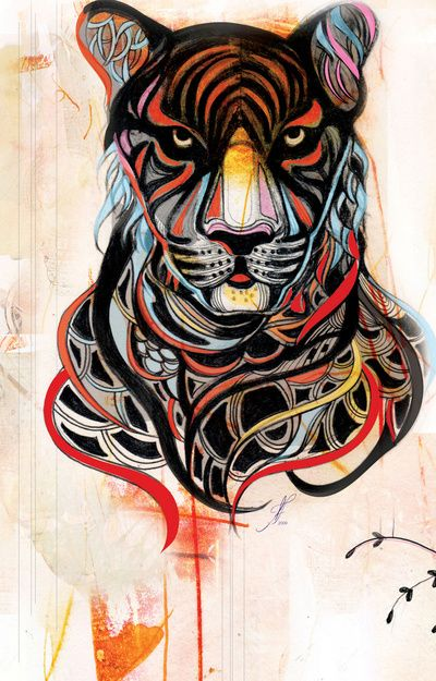 (by Felicia Atanasiu)  http://www.society6.com/product/Tiger_Stretched-Canvas/99810?tag=mixed-media
