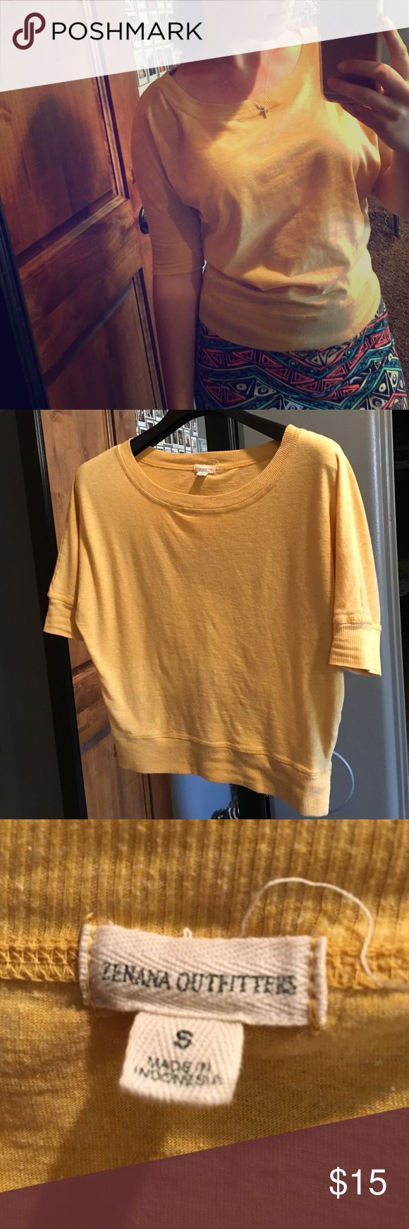 Yellow Short Sleeve Top Worn a couple times but in good condition 🙂 wide scoop neck. Cotton. Zenana Outfitters Tops Tees - Short Sleeve