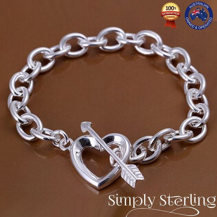 925 STERLING SILVER PLATED LOVE HEART CHARM BRACELET CUPID ARROW ROMANTIC GIFT